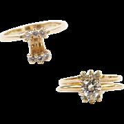 Vintage 14k Gold .15 ctw Diamond Solitaire Enhancer / Guard Ring