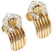Vintage 14k Gold .16 ctw Diamond Earrings ~ Two-Tone