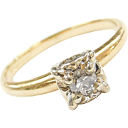 Vintage 14k Gold Two-Tone .17 Carat Illusion Head Solitaire Engagement Ring