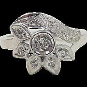 Retro 14k White Gold .19 ctw Diamond Ring