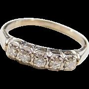 Vintage 14k White Gold .22 ctw Diamond Wedding Band Ring