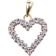 Vintage 14k Gold Two-Tone .22 ctw Diamond Heart Pendant