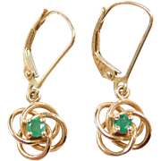 Vintage 10k Gold .24 ctw Emerald Love Knot Earrings ~ Lever Backs