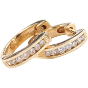 Vintage 14k Gold .24 ctw Diamond Huggie Hoop Earrings