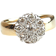 1940's 14k Gold Two-Tone .25 ctw Diamond Illusion Ring