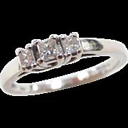 Vintage 14k White Gold .26 ctw Diamond Ring