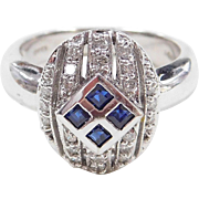 Vintage 14k White Gold .27 ctw Sapphire and Diamond Ring