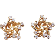 Vintage 14k Gold .30 ctw Diamond Earring Jackets