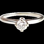 Vintage 14k White Gold .30 Carat Diamond Solitaire Ring