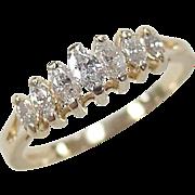 Vintage 14k Gold .32 ctw Diamond Marquise Ring