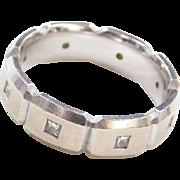 Vintage 14k White Gold .32 ctw Men's Diamond Wedding Band Ring ~ Comfort Fit