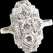 Art Deco 14k White Gold .33 ctw Diamond Ring