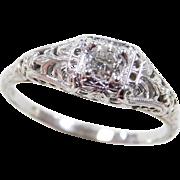Art Deco 18k White Gold .34 Carat Diamond Engagement Ring