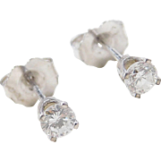 14k White Gold .34 ctw Diamond Stud Earrings