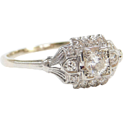 Art Deco 18k White Gold .36 ctw Diamond Engagement Ring