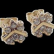 Vintage 14k Gold .36 ctw Diamond Stud Earrings