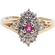 Vintage 14k Gold .36 ctw Natural Ruby and Diamond Ring