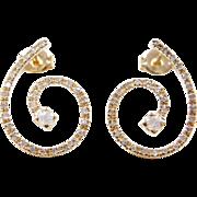 Vintage 14k Gold .37 ctw Diamond Swirl Earrings