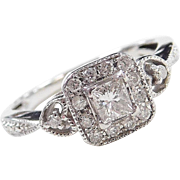 .37 ctw Diamond Engagement Ring with Hearts 14k White Gold