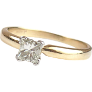 14k Gold and Platinum .38 Carat Princess Diamond Engagement Ring