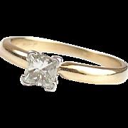 14k Gold and Platinum .38 Carat Princess Diamond Engagement Ring