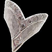 Vintage 14k White Gold .38 ctw Diamond Wishbone Ring