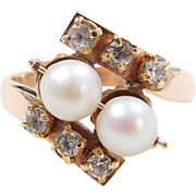 Vintage 14k Gold .39 ctw Diamond and Cultured Pearl Bypass Ring