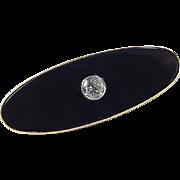 Vintage 14k Gold Onyx and .40 Carat Diamond Pin