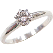 Vintage 14k White Gold .40 Carat Diamond Solitaire Engagement Ring