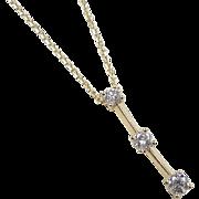 "Vintage 14k Gold .40 ctw Diamond Necklace ~ 20"""