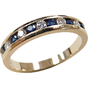 Vintage 14k Gold .45 ctw Sapphire and Diamond Band