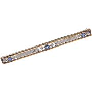 Art Deco 14k Gold .45 ctw Sapphire Bar Pin / Brooch Two-Tone Flowers