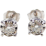 .46 ctw Diamond Illusion Set Stud Earrings 14k White Gold