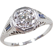 Art Deco 18k White Gold Sapphire and Diamond Ring