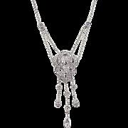Vintage 14k White Gold .50 ctw Diamond Scroll Lavalier Necklace