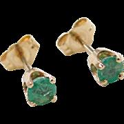 Vintage 14k Gold .50 ctw Emerald Stud Earrings
