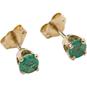 Vintage 14k Gold .50 ctw Emerald Stud Earrings
