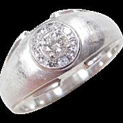 Vintage 14k White Gold Gents .50 ctw Diamond Ring