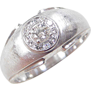 Vintage 14k White Gold Gents .50 ctw Diamond Ring