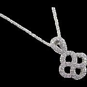 Vintage 14k White Gold .50 ctw Diamond Knot Necklace