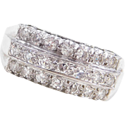 Vintage 14k White Gold .55 ctw Diamond Triple-Row Ring