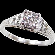 Art Deco 18k White Gold .56 Carat Diamond Engagement Ring