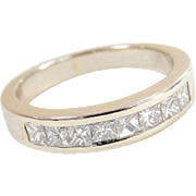 Vintage 14k White Gold .56 ctw Diamond Wedding Band Ring