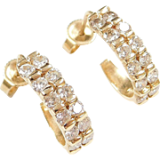 Vintage 14k Gold .60 ctw Diamond J Hoop Earrings