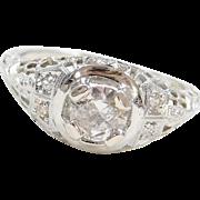 Art Deco 18k White Gold .61 ctw Diamond Ring