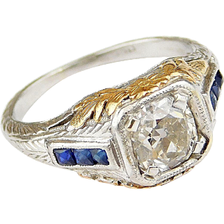 Art Deco Platinum and 18k Yellow Gold .97 ctw Sapphire and Diamond Engagement Ring
