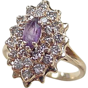 Vintage 14k Gold .74 ctw Amethyst and Diamond Ring