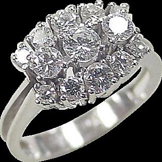 Vintage 14k White Gold .74 ctw Diamond Ring