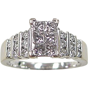 Vintage 14k White Gold .74 ctw Diamond Ring