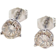 Vintage Platinum .80 ctw Diamond Stud Earrings
